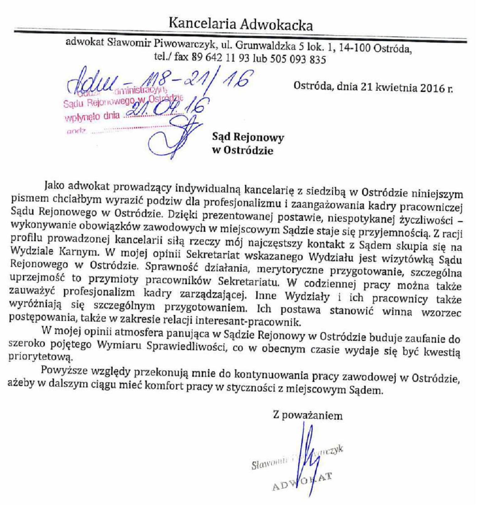 Podziękowania Kancelaria Adwokacka Adw. Sławomi Piwowarczyk